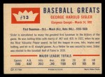 1960 Fleer #13  George Sisler  Back Thumbnail