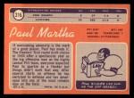 1970 Topps #216  Paul Martha  Back Thumbnail