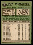 1967 Topps #7  Don McMahon  Back Thumbnail