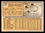 1963 Topps #490  Willie McCovey  Back Thumbnail