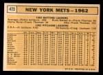 1963 Topps #473   Mets Team Back Thumbnail