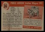 1954 Topps World on Wheels #16   Pierce Arrow Station Wagon 1911 Back Thumbnail