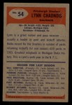 1955 Bowman #54  Lynn Chandnois  Back Thumbnail