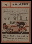 1962 Topps #40  J.W. Lockett  Back Thumbnail
