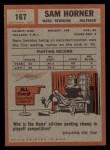 1962 Topps #167  Sam Horner  Back Thumbnail
