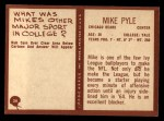 1967 Philadelphia #34  Mike Pyle  Back Thumbnail