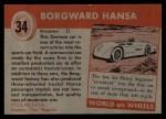 1954 Topps World on Wheels #34   Borgward Hansa Back Thumbnail