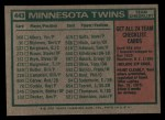 1975 Topps #443   -  Frank Quilici Twins Team Checklist Back Thumbnail