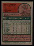 1975 Topps #429  Jim Dwyer  Back Thumbnail