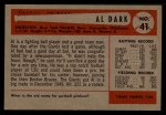 1954 Bowman #41 2B Al Dark  Back Thumbnail