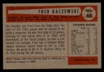 1954 Bowman #60  Fred Baczewski  Back Thumbnail