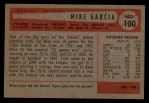 1954 Bowman #100  Mike Garcia  Back Thumbnail