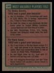 1975 Topps #190   -  Bobby Shantz / Hank Sauer 1952 MVPs Back Thumbnail
