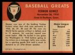 1961 Fleer #34  Lefty Gomez  Back Thumbnail