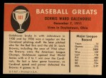 1961 Fleer #107  Dennis Galehouse  Back Thumbnail