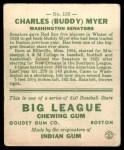 1933 Goudey #153  Buddy Myer  Back Thumbnail