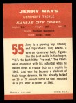 1963 Fleer #55  Jerry Mays  Back Thumbnail