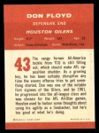 1963 Fleer #43  Don Floyd  Back Thumbnail