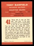 1963 Fleer #41  Tony Banfield  Back Thumbnail