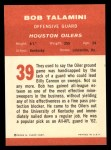 1963 Fleer #39  Bob Talamini  Back Thumbnail