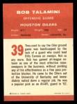 1963 Fleer #39  Bob Talamini  Back Thumbnail