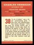 1963 Fleer #38  Charlie Hennigan  Back Thumbnail