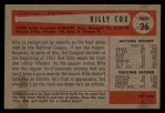 1954 Bowman #26 ALL Billy Cox  Back Thumbnail