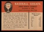 1961 Fleer #139  Bob Shawkey  Back Thumbnail