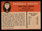 1961 Fleer #82  Hippo Vaughn  Back Thumbnail