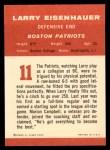 1963 Fleer #11  Larry Eisenhauer  Back Thumbnail