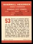 1963 Fleer #53  Sherrill Headrick  Back Thumbnail