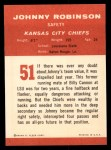 1963 Fleer #51  Johnny Robinson  Back Thumbnail