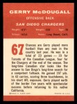 1963 Fleer #67  Gerry McDougall  Back Thumbnail