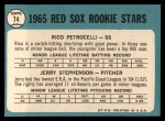 1965 Topps #74   -  Rico Petrocelli / Jerry Stephenson Red Sox Rookies Back Thumbnail