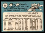 1965 Topps #444  Bob Hendley  Back Thumbnail