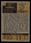 1971 Topps #45  Larry Csonka  Back Thumbnail