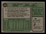 1974 Topps #20  Nolan Ryan  Back Thumbnail