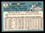 1965 Topps #26  Bobby Knoop  Back Thumbnail