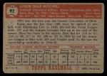 1952 Topps #92  Dale Mitchell  Back Thumbnail