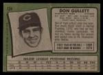 1971 Topps #124  Don Gullett  Back Thumbnail
