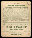 1933 Goudey #87  Frank O'Rourke  Back Thumbnail