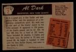 1955 Bowman #2  Al Dark  Back Thumbnail