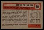 1954 Bowman #217 3B Hank Thompson  Back Thumbnail
