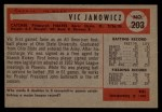 1954 Bowman #203  Vic Janowicz  Back Thumbnail