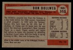 1954 Bowman #115  Don Bollweg  Back Thumbnail