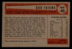 1954 Bowman #43 ERR Bob Friend  Back Thumbnail
