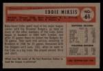 1954 Bowman #61 2B Eddie Miksis  Back Thumbnail