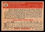 1952 Topps #164  Walt Dubiel  Back Thumbnail