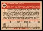 1952 Topps #139 CRM Ken Wood  Back Thumbnail