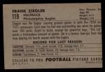 1952 Bowman Large #119  Frank Ziegler  Back Thumbnail